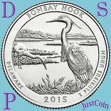 2015 PDS SET BOMBAY HOOK (DE) NATIONAL WILDLIFE REFUGE QUARTERS UNCIRCUL US MINT