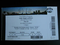 LADY GAGA  O2 LONDON  26/10/2014 TICKET