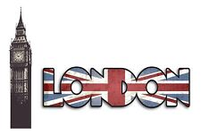 LONDON WORDS Wall Decals Signs Flag Big Ben Clock Tower Room Decor Stickers Flag