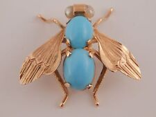 Art Deco Handmade 10.0 tcw Turquoise Bee Insect Brooch Pin 18k YG High End