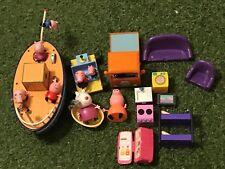 PEPPA PIG PLAYSETS + 9 FIGURE & HOME FURNISHINGS BUNDLE van boat buggy bath bunk