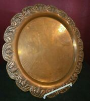 """Vintage, Made In Greece Hand Engraved Copper Serving Tray. 14 1/2"""" in Diameter"""
