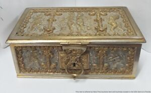 Vintage Art Nouveau Cherubs Brass Jewelry Trinket Box Signed Lostermayr Nurnberg