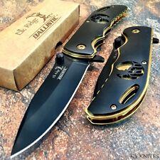 ELK RIDGE Assist Opening Folding Pocket Knife BLACK/GOLD w/ELK CUTOUT A008BG -SU