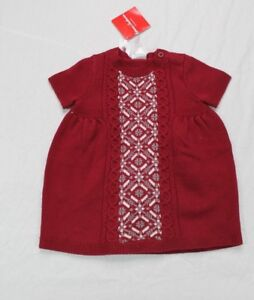 hanna Andersson Girls Sweater Dress Fair Isle Knit Short Sleeve Cranberry Maroon