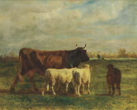 Constant Troyon A brown cow and two sheep walking Giclee Paper Print Poster