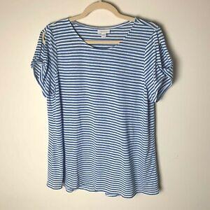 J. Jill Love Linen Women's Top Size Medium Short Sleeves Open Shoulders Stripes