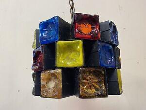 Multicolor Glass Felipe Delfinger for Feders Brutalist Pendant Lamp, 70's
