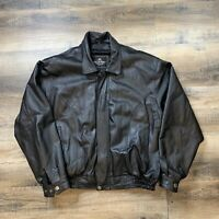 OSCAR PIEL Soft LEATHER JACKET Mens Size XL black zippered insulated