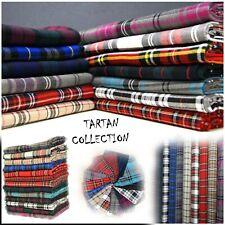 "Tartan Polyviscose Fabric 58"" (145cms) Scottish Fashion Plaid Check Woven D#214"