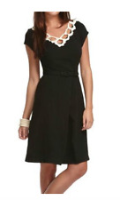Women's Libertine For Target Black Dress Ivory Cut Out Lace Neckline Size 1 XS