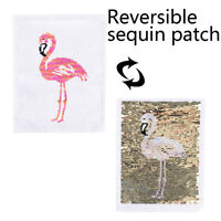 Flamingo Reversible Change Color Sequin Sew On Patches for Clothes DIY Applique&
