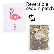 Flamingo Reversible Change Color Sequin Sew On Patch for Clothes DIY Applique TK