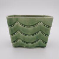 Vintage Sanford Sebring O Pottery Planter Ceramic Drip Glazed Green w Waves MCM