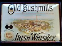 OLD BUSHMILL'S  WHISKEY/BREWERY : EMBOSSED 3D METAL  ADVERTISING SIGN 30x20cm