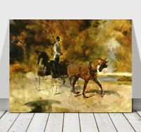 TOULOUSE LAUTREC - Horse Carriage - CANVAS ART PRINT POSTER - 18x12""