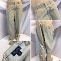 Brooks Brothers Khaki Pants 36x31 Tan 100% Cotton Flat Front EUC YGI RE1095