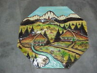 "Vintage pine wood carved panel Alpine village Black Forest Pike's Peak 22"" x 22"""