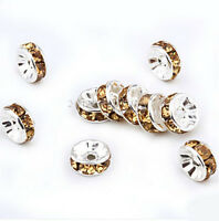 50/100X Crystal Rhinestone Silver Plated Rondelle Spacer Bead Jewelry Making 6MM