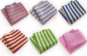 White Red Green Blue Orange  Yellow Stripe Patterned Pocket Square Handerchief