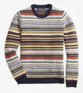 $98 NEW Brooks Brothers Boys Sweater MERINO WOOL Fair Isle Grey Navy Blue M