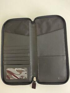 coach black zippered card holder wallet