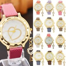 Fashion Women Crystal Bracelet Wrist Watch Pendant Heart Dial Quartz Watch N2009