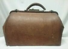 Antique Brown Leather Doctor Bag Striped Fabric Lining