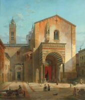 "oil painting on canvas ""Entrance of the Church of Santa Maria Maggiore  """