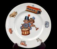"""Antique Vintage Child's Plate Toys Drum Trumpet Czechoslovakia 8-1/2"""""""