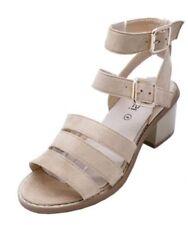 Zapatos de tacón de mujer beige sin marca de sintético