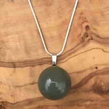 "Green Aventurine Ball Sphere Pendant 20mm 20"" Silver Necklace Love Positivity"