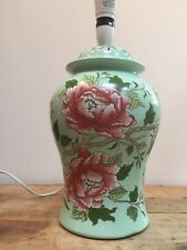 COUNTRY HOUSE STYLE MINT GREEN WITH FLORAL PATTERN GINGER JAR SHAPE MED LAMP