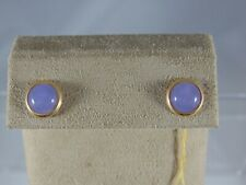 Sensational 14k Yellow Gold Round Blue Turquoise Stud Earrings Slot G-68-I