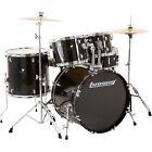 Ludwig Backbeat Complete 5-Piece Drum Set w/Hardware, Cymbals Black Sparkle
