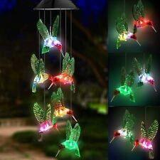 Color-Changing Led Solar Powered Hummingbird Wind Chime Lights Yard Garden