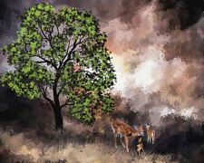 """perfect 36x24 oil painting handpainted on canvas """"deer,landscape"""" NO1504"""