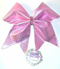 Pink  Spandex Bling Cheer Hair Bow