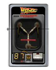 Back To The Future Flux Capacitor Flip Top Lighter Brushed Chrome Vinyl Image.