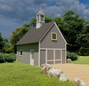 One-Bay Country Garage with Loft - 3 Complete Sets of Pole Barn Plans (eB-102x3)