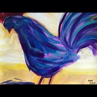 Matt Scalf Abstract Chicken ORIGINAL PAINTING 9x12 Rooster Modern Farmhouse Boho
