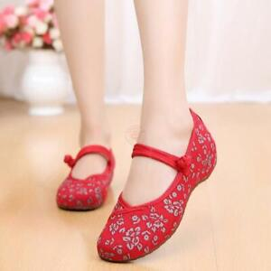 Womens Retro Embroidered Chinese Style Shoes Mary Jane Qipao Dress Flats Shoes