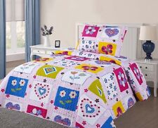 #301 GIRL HEARTS FLOWERS TWIN 2PC PRINTED QUILT SET BEDSPREAD BEDDING DRESSING