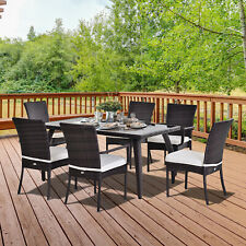 Outsuny 7PC Rattan Dining Set Patio Chair Glass Top Table Wicker Furniture Brown