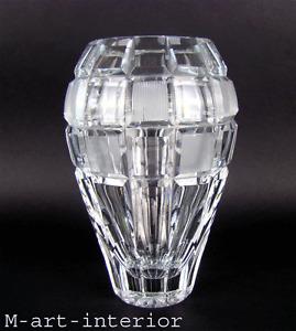 Imposant Czech Cut Crystal Glass ART DÉCO Vase with Squares Bohemia 1930s
