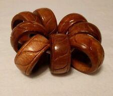 Set of 8 Wood Napkin Rings Dinner Holders Handmade Brown Grooved Carved