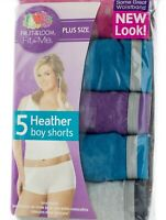 FRUIT OF THE LOOM WOMEN'S Fit for Me Heather Boy Shorts 5 pack