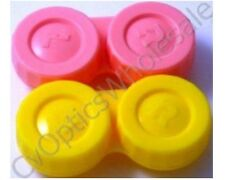 2x Contact Lens Soaking Storage Case Pink/Yellow