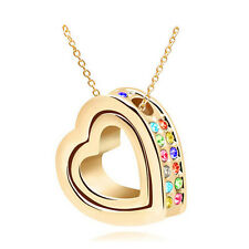 Fashion Women Double Heart Mix Crystal Charm Pendant Chain Necklace Gold BT36