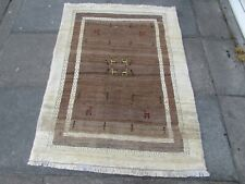 Traditional Tribal Hand Made Persian Gabbeh Oriental Brown Wool Rug 153x114cm
